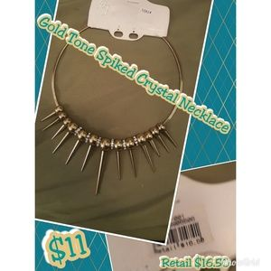 Jewelry - Gold tone spiked crystal necklace